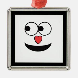Hearty Nose Happy Face Silver-Colored Square Ornament