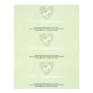 HeartyChic Lime Green linen Damask Heart Custom Letterhead