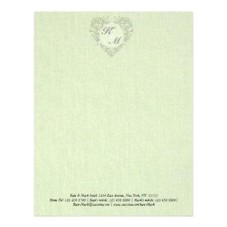 HeartyChic lime Green Linen damask heart Letterhead Design