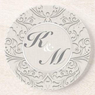 HeartyChic Natural Linen Damask Heart Beverage Coaster