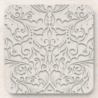 HeartyChic Natural Linen Damask Heart Coaster