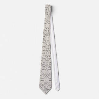 HeartyChic Natural linen Damask Heart Tie