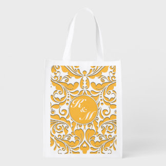 HeartyParty Yellow And White Damask Heart Grocery Bags