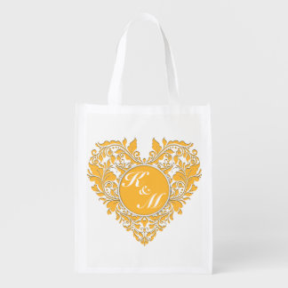 HeartyParty Yellow And White Damask Heart Market Totes
