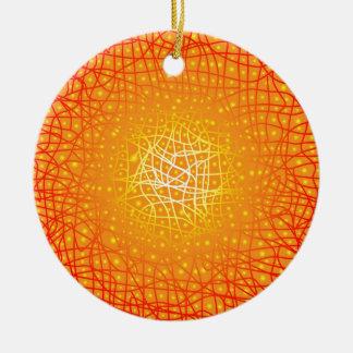 Heat Background Round Ceramic Ornament