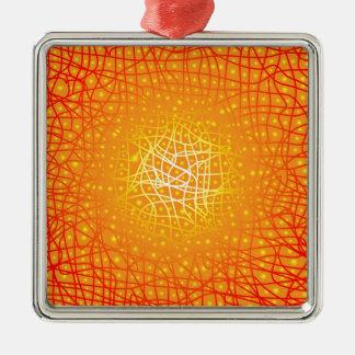 Heat Background Silver-Colored Square Ornament