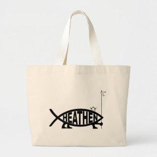 Heathen Fish Large Tote Bag