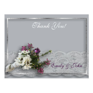 Heather and Lace Wedding Thank you Postcard