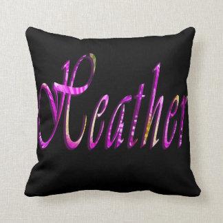 Heather, Girls Name Logo, Black Throw Cushion. Throw Pillow