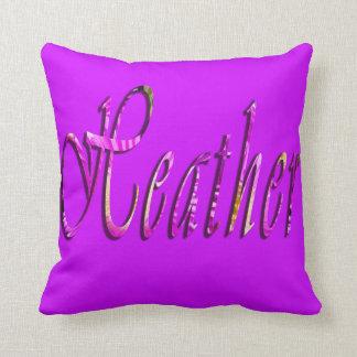 Heather, Girls Name Logo, Magenta Throw Cushion. Throw Pillow