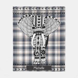 Heather Gray Cream Plaid Tribal Patterned Elephant Fleece Blanket