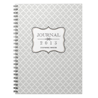 Heather gray Moroccan tile personalized journal Spiral Notebook