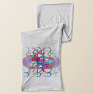 Heather Gray Scarf with Abstract Design