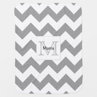 Heather Grey Monogram Chevron Baby Blanket