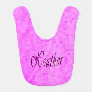 Heather, Name, Logo, Baby Girls Pink Bib. Bib