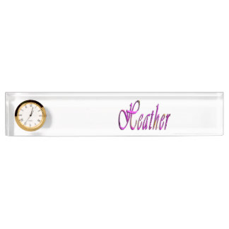 Heather, Name, Logo, Desk Name Plate With Clock.