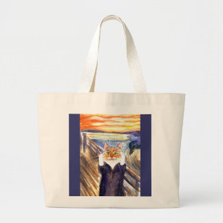 Heather the Cat in The Scream Large Tote Bag