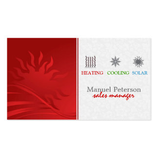 Heating Cooling And Solar Sales Manager Pack Of Standard Business Cards