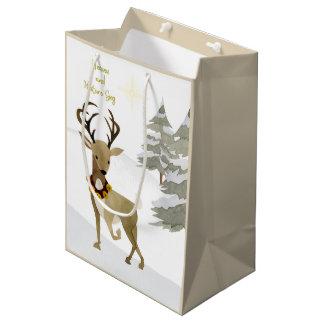 Heaven and Nature Sing Deer Christmas Medium Medium Gift Bag