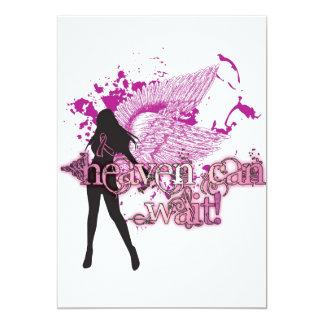 "Heaven Can Wait-Breast Cancer 5"" X 7"" Invitation Card"