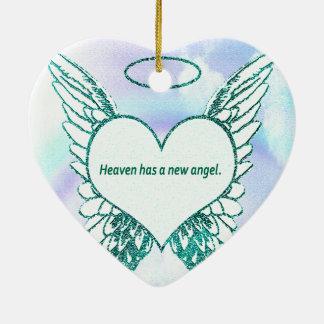 Heaven has a New Angel Ceramic Heart Ornament