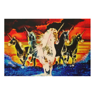 Heaven & Hell Unicorns Acrylic Airbrush Art Print Wood Canvases