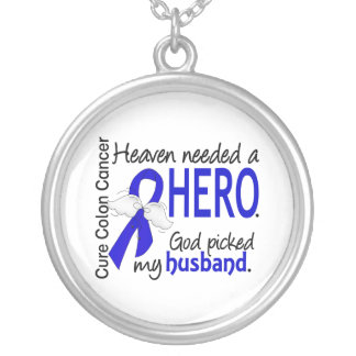 Heaven Needed a Hero Colon Cancer Husband Round Pendant Necklace