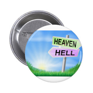 Heaven or hell sign concept badges