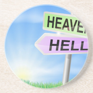 Heaven or hell sign concept beverage coasters