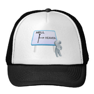 Heaven or hell sign mesh hats