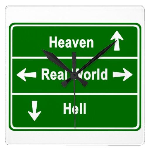 Heaven, real world & hell wall clock