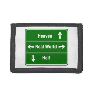 Heaven, real world & hell tri-fold wallets