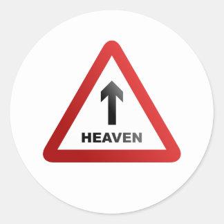 Heaven Warning Sign Classic Round Sticker