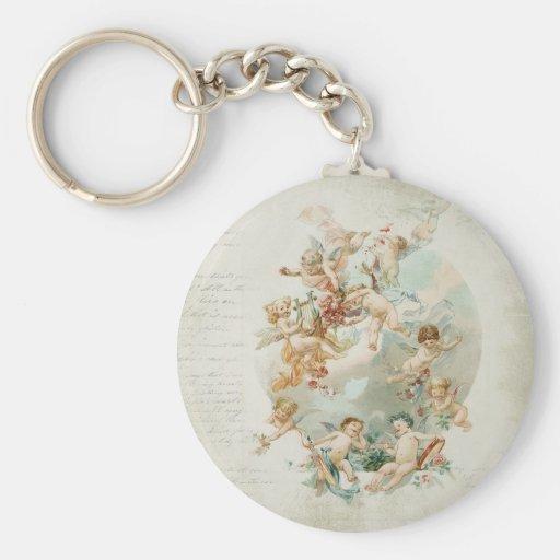 Heavenly Angel Cherubs Vintage Script Keychain