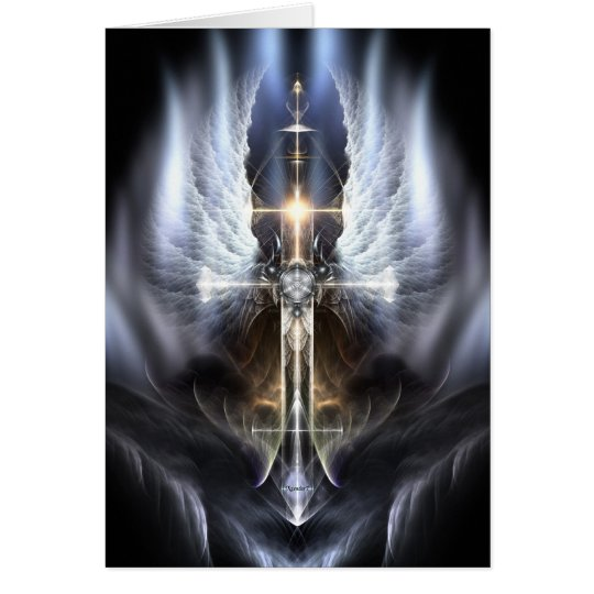 Heavenly Angel Wing Cross Fractal Greeting Card