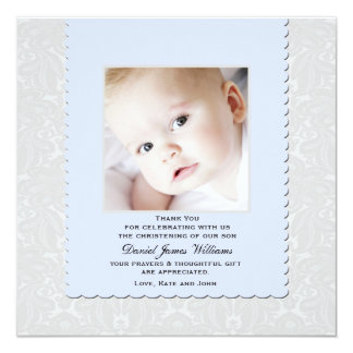 """Heavenly Blue Damask Photo Thank You / Notecard 5.25"""" Square Invitation Card"""