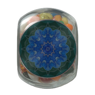 Heavenly Blue Flower Mandala glass candy jar