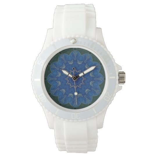 Heavenly Blue Flower Mandala Watch sporty