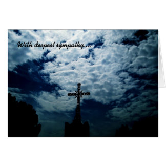 Heavenly cross sympathy card customizable text