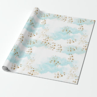 Heavenly Gold Star Dust Angel Clouds Gift Wrap