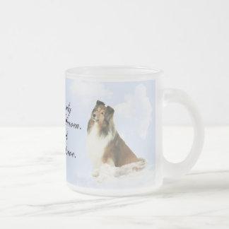 Heavenly Grace Sheltie Frosted Glass Coffee Mug