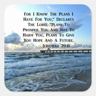 HEAVENLY JEREMIAH 29:11 SCRIPTURE DESIGN SQUARE STICKER