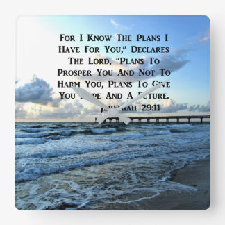 HEAVENLY JEREMIAH 29:11 SCRIPTURE DESIGN SQUARE WALL CLOCK