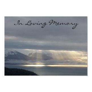 "Heavenly Light Memorial Service Announcement 5"" X 7"" Invitation Card"