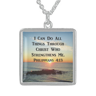 HEAVENLY PHILIPPIANS 4:13 BIBLE VERSE STERLING SILVER NECKLACE