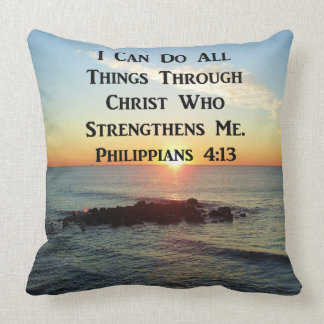 HEAVENLY PHILIPPIANS 4:13 BIBLE VERSE THROW PILLOW