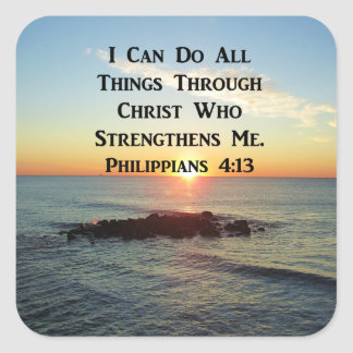 HEAVENLY PHILIPPIANS 4:13 SCRIPTURE DESIGN SQUARE STICKER