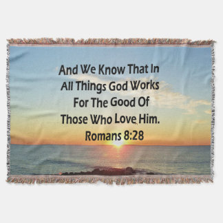 HEAVENLY ROMANS 8:28 BIBLE VERSE THROW BLANKET