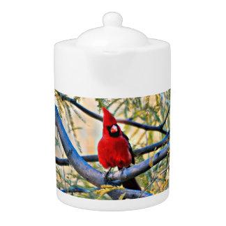 """Heavenly Visitor"" Cardinal Medium Teapot"