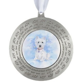 Heavenly Westie Pewter Ornament